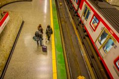 SANTIAGO, CHILE - SEPTEMBER 14, 2018: Above view of unidentified people at the hall of Estacion Alameda, central station. Opened in 1885, now it is the city`s Royalty Free Stock Photography
