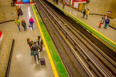 SANTIAGO, CHILE - SEPTEMBER 14, 2018: Above view of unidentified people at the hall of Estacion Alameda, central station. Opened in 1885, now it is the city`s royalty free stock image