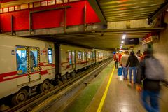 SANTIAGO, CHILE - SEPTEMBER 14, 2018: Blurred people walking at the hall of Estacion Alameda, central station. Opened in. 1885, now it is the city`s only Stock Photo