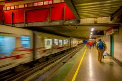 SANTIAGO, CHILE - SEPTEMBER 14, 2018: Crowd of people walking at the hall of Estacion Alameda, central station. Opened. In 1885, now it is the city`s only royalty free stock image
