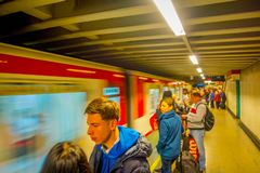 SANTIAGO, CHILE - SEPTEMBER 14, 2018: Crowd of people walking at the hall of Estacion Alameda, central station. Opened. In 1885, now it is the city`s only Royalty Free Stock Photography