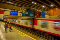 SANTIAGO, CHILE - SEPTEMBER 14, 2018: Crowd of people walking at the hall of Estacion Alameda, central station. Opened. In 1885, now it is the city`s only Royalty Free Stock Images