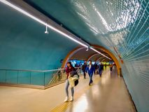SANTIAGO, CHILE - SEPTEMBER 14, 2018: Group of people walking in the hall after before travel in the central station. Opened in 1885, now it is the city`s only stock images