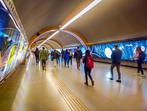 SANTIAGO, CHILE - SEPTEMBER 14, 2018: Group of people walking in the hall after before travel in the central station. Opened in 1885, now it is the city`s only stock photography