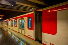 SANTIAGO, CHILE - SEPTEMBER 14, 2018: Indoor view of blurred metro in the rails inside of the Estacion Alameda, central. Station. Opened in 1885, now it is the royalty free stock photos