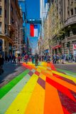 SANTIAGO, CHILE - SEPTEMBER 13, 2018: Outdoor view of crowd of people walking in the colorful streets the downtown Royalty Free Stock Photography