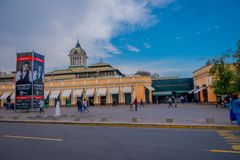 SANTIAGO, CHILE - SEPTEMBER 13, 2018: Outdoor view of people walking in front of market near central bust station in. Santiago de Chile stock photo