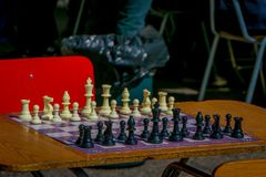 SANTIAGO, CHILE - SEPTEMBER 14, 2018: Outdoor view of a table chess with all the pieces located at outdoors in Plaza de. Armas located in dowtown in Santiago de Stock Images