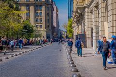 SANTIAGO, CHILE - SEPTEMBER 13, 2018: Unidentified people on the downtown street of the city. This area consists of 19th. Century neoclassical colonial royalty free stock photos