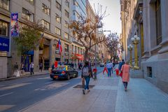 SANTIAGO, CHILE - SEPTEMBER 13, 2018: Unidentified people on the downtown street of the city. This area consists of 19th. Century neoclassical colonial royalty free stock photo