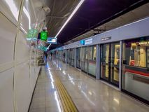 SANTIAGO, CHILE - SEPTEMBER 14, 2018: Unidentified people inside of electric train on central sweeden railway station in. Santiago, Chile royalty free stock photo