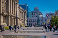 SANTIAGO, CHILE - SEPTEMBER 13, 2018: Unidentified people walking in the square of Plaza de Armas located in Santiago de. Chile in a beautiful sunny day with Stock Photography