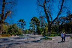 SANTIAGO, CHILE - SEPTEMBER 13, 2018: Unidentified tourists relaxing in the Yungay park located in the Barrio Yungay in. Santiago, capital of Chile in gorgeous Stock Photo