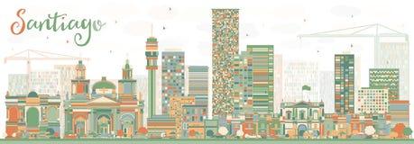 Santiago Chile Skyline abstrait avec des bâtiments de couleur illustration libre de droits