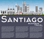 Santiago Chile Skyline avec Gray Buildings, le ciel bleu et le PS de copie illustration de vecteur