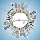 Santiago Chile Skyline avec Gray Buildings, le ciel bleu et le PS de copie illustration libre de droits
