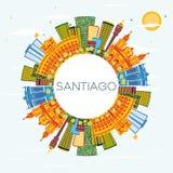 Santiago Chile Skyline avec les bâtiments de couleur, le ciel bleu et la copie S illustration de vecteur