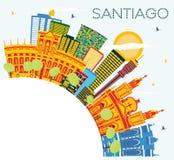 Santiago Chile Skyline avec les bâtiments de couleur, le ciel bleu et la copie S illustration libre de droits