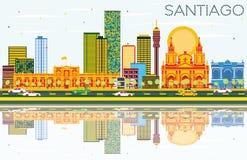 Santiago Chile Skyline avec les bâtiments de couleur, le ciel bleu et le Reflec illustration libre de droits