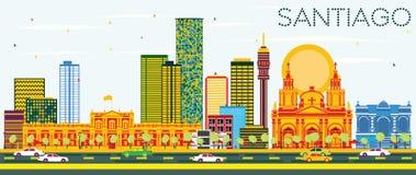Santiago Chile Skyline med färgbyggnader och blå himmel stock illustrationer
