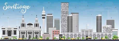 Santiago Chile Skyline med Gray Buildings och blå himmel vektor illustrationer