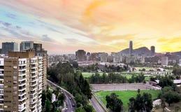 Santiago Chile sommareftermiddag Arkivfoton