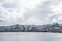 Santiago Chili linia brzegowa i zadziwiać chmury fotografia stock
