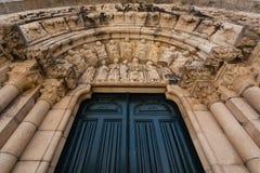 Santiago church archivolts in La Coruña Royalty Free Stock Photo
