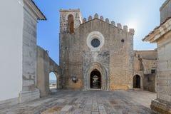 Santiago Church facade, inside the Palmela Castle. Palmela, Portugal - August, 2015: Santiago Church facade, inside the Palmela Castle stock photography