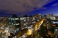 Santiago city from above at twilight. Stock Photo