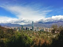 Santiago city. A cityscape of Santiago de Chile with a blue sky stock photos