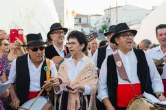 Santiago de Alcantara, SPAIN - 18 AUGUST 2018:Once a year the tr. Aditional festival `La Frenda ` is celebrated in the town of Santiago de Alcantara, Caceres royalty free stock images