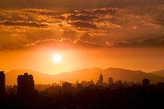 Santiago de Chile. Sunset over Santiago de Chile, South America Stock Images