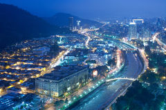 Santiago de Chile. Night view of Santiago de Chile toward the east part of the city, showing the Mapocho river and Providencia and Las Condes districts Royalty Free Stock Photo