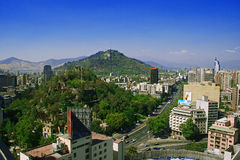 Santiago de Chile. The center of Santiago, the Capital of Chile in South America. View to Cerro Santa Lucia and Cerro San Cristobal Stock Image