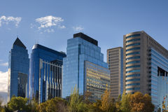 Santiago de Chile. Skyline of Santiago de Chile new and modern business center Stock Photo