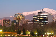 Santiago de Chile. Skyline of Providencia district with the Andes mountain range in the background, Santiago de Chile Royalty Free Stock Image