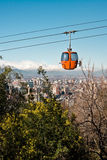 Santiago de Chile. Cable car in San Cristobal hill, overlooking a panoramic view of Santiago de Chile Royalty Free Stock Photography