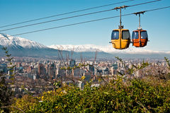 Santiago de Chile. Cable car in San Cristobal hill, overlooking a panoramic view of Santiago de Chile Stock Image