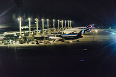 Santiago de Chile Airport la nuit Image stock