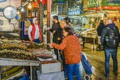 Central Market, Santiango de Chile. SANTIAGO DE CHILE, CHILE, MAY - 2018 - Interior view of mercado central; a famous food and drink traditional market of stock image
