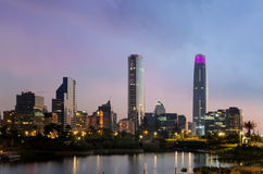 Santiago de Chile, Chile - November 14, 2015: Skyline of buildin. View of Las Condes district from Bicentenario Park. Las Condes is a commune of Chile located in stock images