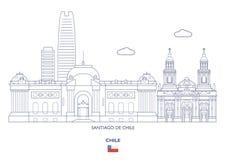 Santiago De Chile City Skyline, Chili illustration de vecteur