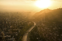Santiago de Chile cityscape at sunset. With Mapocho river and Providencia Royalty Free Stock Photo