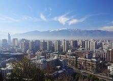 Santiago de Chile. Chile, Santiago, Cityscape viewed from the Santa Lucia Hill stock image