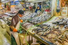 Central Market, Santiango de Chile. SANTIAGO DE CHILE, CHILE, MAY - 2018 - Interior view of mercado central; a famous food and drink traditional market of royalty free stock image