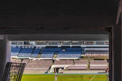 Santiago de Chile National Stadium. Long distan view shot of empty field of Julio Martinez Pradanos santiago de chile stadium royalty free stock photos