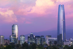 Santiago de Chile night time. Santiago de chile cityscape at dusk with beautiful clouds Stock Photography