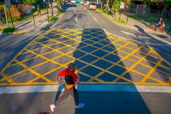 SANTIAGO DE CHILE, CHILE - OCTOBER 16, 2018: Above view of people using the zebra cross with traffic on the streets of stock images