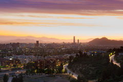 Santiago de Chile. Panoramic view of Santiago de Chile with Las Condes and Vitacura districts and the wealthy neighborhood of Lo Curro Stock Photography